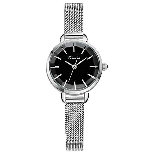 Tidoo Marke Uhr fuer Frauen Edelstahl Silber Ton Handgelenk Band Schwarz Face Quarz Kleid Uhren