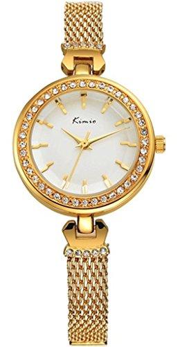 Tidoo Golden Klein Band Armbanduhr fuer Damen Luxus Armbanduhr mit Japaneses Quarz Bewegung