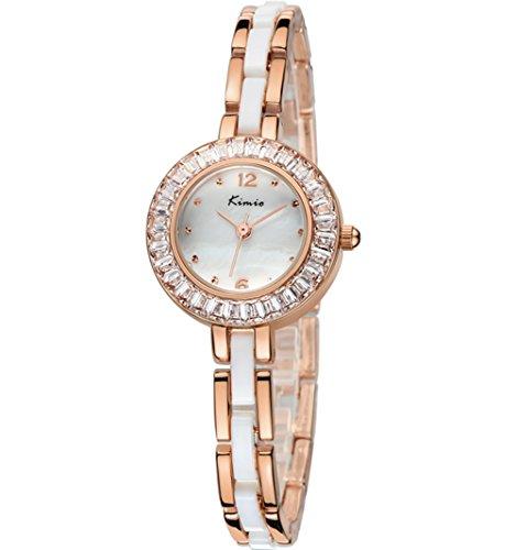 Tidoo Damen Marke Uhren mit Rose Gold Ton Keramik Band Kristall Armband Armbanduhr
