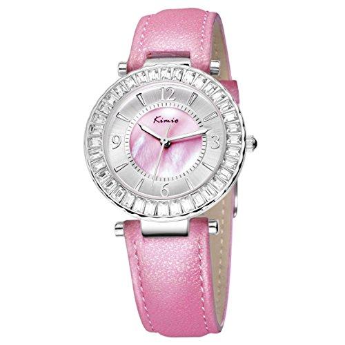 Tidoo Uhren Candy Farbe Baby Pink Leder Band Serie Luxus der Dame Kleid Uhr mit Full Kristalle und Japanisches Uhrwerk