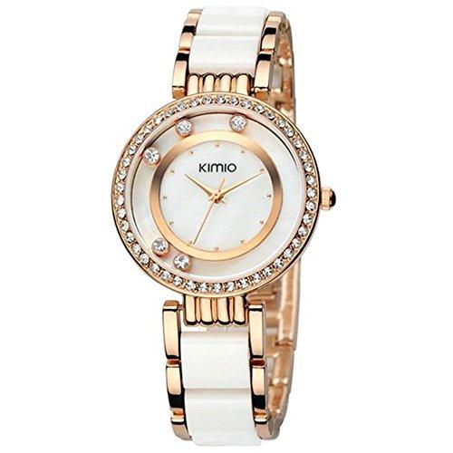 Tidoo Damen Kleid Watch Charm vergoldet weiss Keramik Band mit 5 Kristalle weiss Zifferblatt