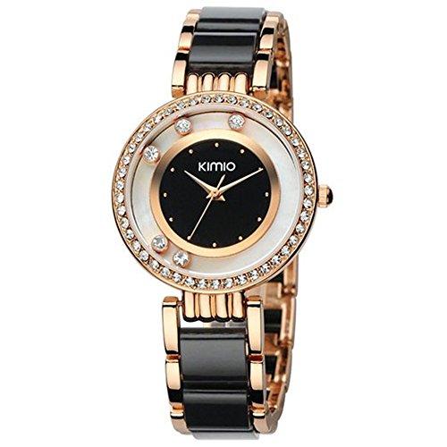 Tidoo Damen Kleid Uhr Rose vergoldet schwarz Keramik Band mit 5 Kristallen schwarz und weiss Zifferblatt