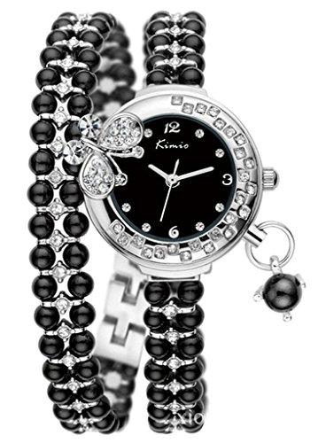 Tidoo Marke Uhr Versilbert Schwarz Perlen Armreif Armband Uhr mit Kristall Schmetterling