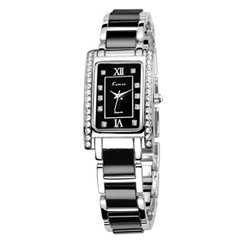 Tidoo Marke Uhr fuer Frauen Schwarz Zifferblatt Japanisches Uhrwerk staintless Stahl Armbanduhr 510S