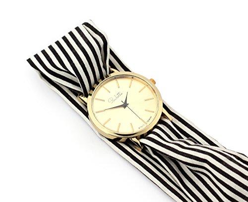 Paulette Uhr Classic Black White Schoene 39mm Armbanduhr mit Stoffband fuer Damen besonderes Wickelarmband mit Muster in Schwarz Weiss Gross Gold Flach Stoffarmband