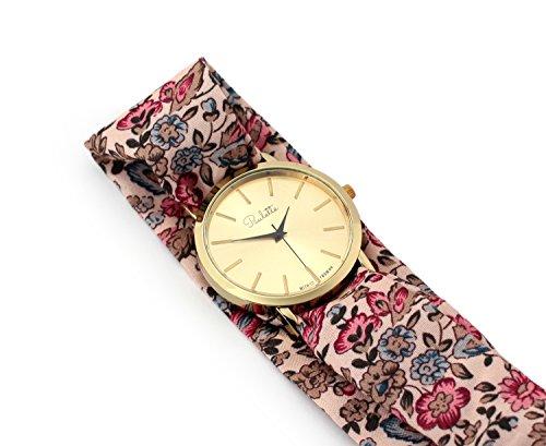Paulette Uhr Classic Floral Rose Schoene 39mm Armbanduhr mit Stoffband fuer Damen besonderes Wickelarmband mit Blumen Muster Gross Gold Flach Stoffarmband