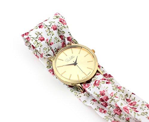 Paulette Uhr Classic Floral White Schoene 39mm Armbanduhr mit Stoffband fuer Damen besonderes Wickelarmband mit Blumen Muster Gross Gold Flach Stoffarmband