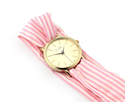 Paulette Uhr Classic Rose White Schoene 39mm Armbanduhr mit Stoffband fuer Damen besonderes Wickelarmband mit Muster in Pink Rosa Weiss Gross Gold Flach Stoffarmband
