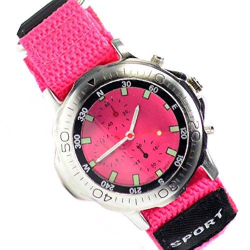 PinkTextil Armbanduhr Klettverschluss Chronograph Look Textilband 60