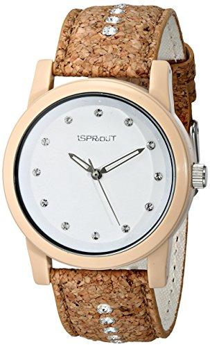 Sprout Damen ST 5530wtck Swarovski Kristall Kork mit Akzenten Armbanduhr