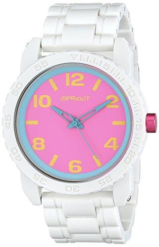 Sprout Unisex ST 7010pkwt Pink Zifferblatt weiss Corn Resin Armband Uhr