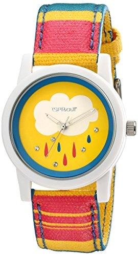 Sprout Damen ST 5531ylmp Swarovski Kristall akzentuierten Regen Drop Thema Zifferblatt Multicolor Organic Cotton Armbanduhr