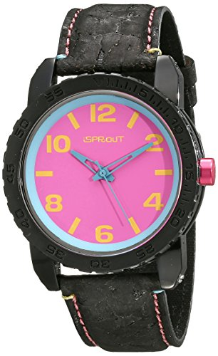 Sprout Unisex ST 7011pkbk Pink Mais Kunstharz Zifferblatt schwarz Kork Armbanduhr