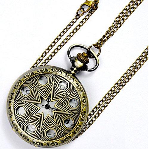 WZC Antik Hohl Out Bronze Metall Fall Quarz Taschenuhr mit Kette