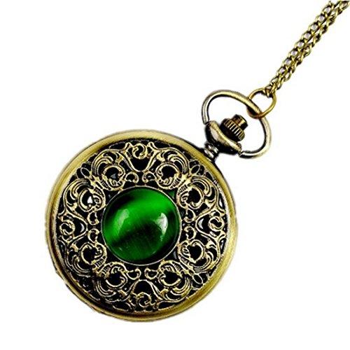 WZC Antik Smaragd Quarz Taschenuhr fuer Frauen mit Kette