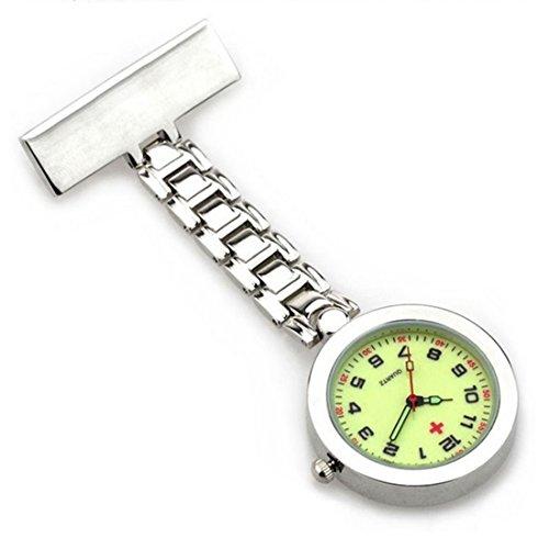 WZC Silber Quarz Bewegung Krankenschwester Uhr mit Leuchtzeiger und Ziffernblatt