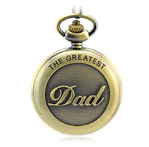 WZC Antik Bronze Dad Quarz roemischen Ziffern Pocket Uhren Als Geschenk