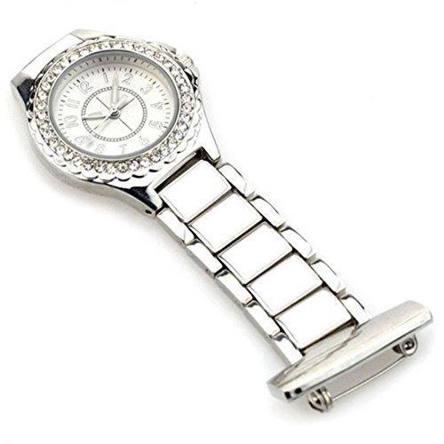 WZC Silber Quarz Edelstahl Diamant Anstecknadel Krankenpfleger Phosphoreszierende Zeiger