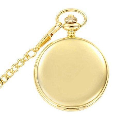 WZC Fashion Glatte Golden Quarz TaschenUhren mit Kette