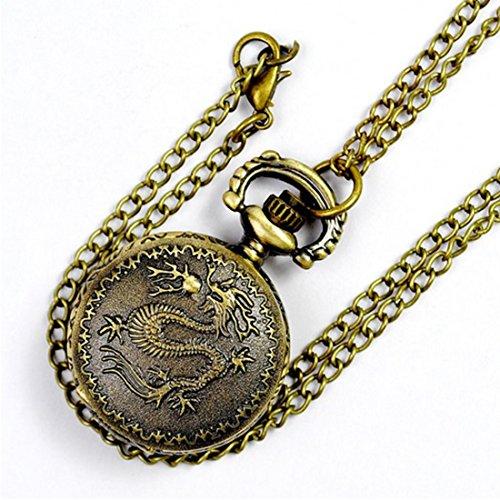 WZC Kleine Groesse antik bronze Dragon Taschenuhr Quarz