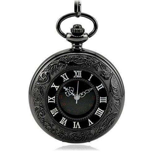 WZC Antik Schwarz doppelt Display Quarz Uhrwerk roemischen Ziffern Taschenuhr