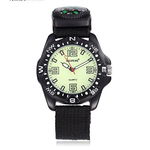 WZC schwarz Quarz Herren Sport Analog Handgelenk Uhren mit Kompass phosphoreszierende Zeiger und Zifferblatt
