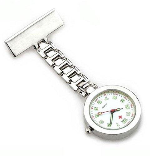 WZC Silber Quarz Krankenschwester Uhr mit Leuchtzeiger