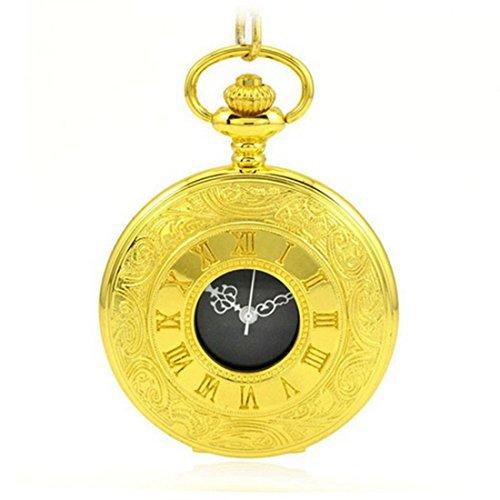 WZC Vintage Golden doppelt Display Quarz Uhrwerk roemischen Ziffern Taschenuhr