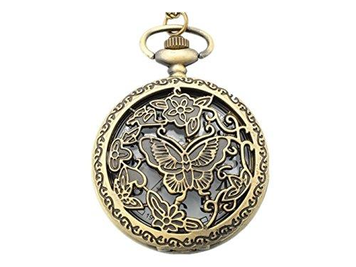 WZC Vintage Schmetterling Quarz Uhrwerk Taschenuhr fuer Frauen