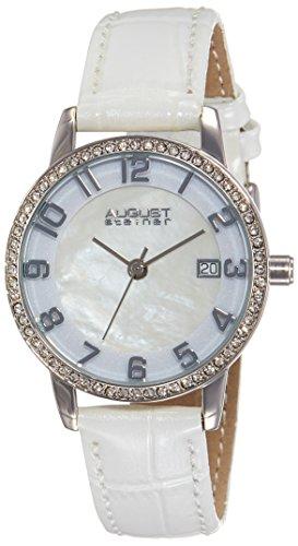 August Steiner Damen Perlmutt silberfarbenes Uhr mit weissem Lederband