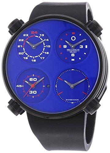 MECCANICHE VELOCI Quattro Valvole Vier Stroke Limited Edition Herren Automatik Uhr mit Blau Zifferblatt Analog Display und schwarz Gummiband w124 K297495025