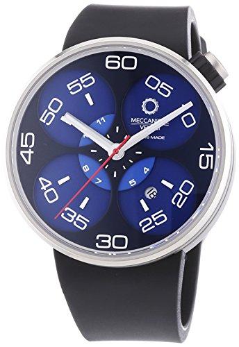 MECCANICHE VELOCI Quattro Valvole 3 Hand Herren Automatik Uhr mit Blau Zifferblatt Analog Display und schwarz Gummiband w127 N277497024