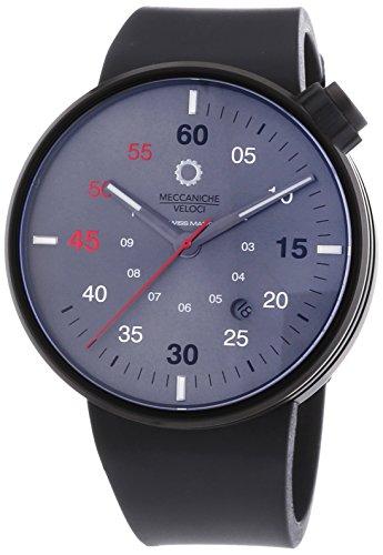 MECCANICHE VELOCI Quattro Valvole 3 Hand Automatische Armbanduhr fuer Herren mit grauem Zifferblatt Analog Anzeige und schwarz Gummiband w127 K281497025