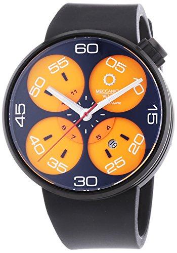 MECCANICHE VELOCI Quattro Valvole 3 Hand Automatische Armbanduhr fuer Herren mit Orange Zifferblatt Analog Anzeige und schwarz Gummiband w127 K283497025