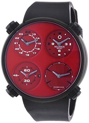 MECCANICHE VELOCI Quattro Valvole Vier Stroke Limited Edition Herren Automatik Uhr mit Rot Zifferblatt Analog Anzeige und schwarz Gummiband w124 K293495025