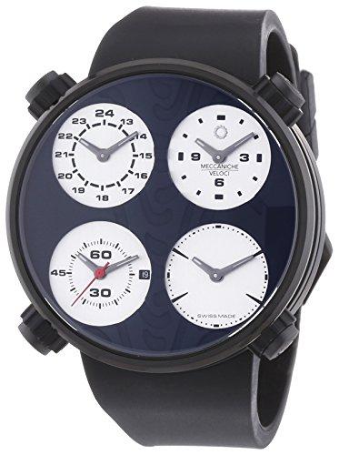 MECCANICHE VELOCI Quattro Valvole Vier Stroke Reifen Limited Edition Herren Automatik Uhr mit schwarzem Zifferblatt Analog Anzeige und schwarz Gummiband w124 K354495025