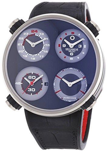MECCANICHE VELOCI Quattro Valvole Vier Stroke Herren Automatik Uhr mit grauem Zifferblatt Analog Anzeige und schwarz Lederband w124 N111519024