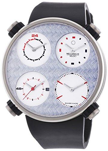 MECCANICHE VELOCI Quattro Valvole Vier Stroke Titan Fibre Limited Edition Automatik Uhr fuer Herren mit grauem Zifferblatt Analog Anzeige und schwarz Rubber Strap w124 N123495024