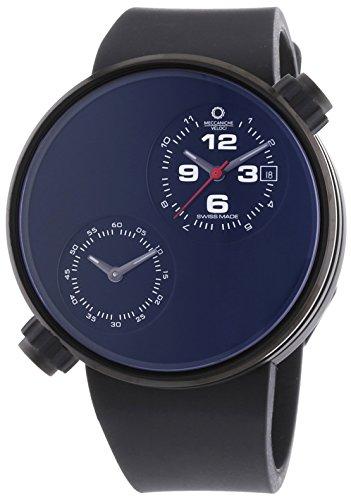 MECCANICHE VELOCI aufgrund Valvole Herren Automatik Uhr mit schwarzem Zifferblatt Analog Anzeige und schwarz Gummiband w125 K185497025