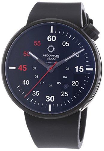 MECCANICHE VELOCI Quattro Valvole 3 Hand Herren Automatik Uhr mit schwarzem Zifferblatt Analog Anzeige und schwarz Gummiband w127 K280497025