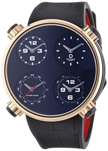 MECCANICHE VELOCI Quattro Valvole Vier Stroke Luxus Herren Automatik Uhr mit schwarzem Zifferblatt Analog Anzeige und schwarz Lederband w145 K096519025