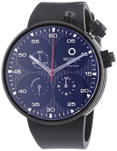 MECCANICHE VELOCI Quattro Valvole Limited Edition Herren Automatik Uhr mit schwarzem Zifferblatt Chronograph Anzeige und schwarz Rubber Strap w123 K115496025
