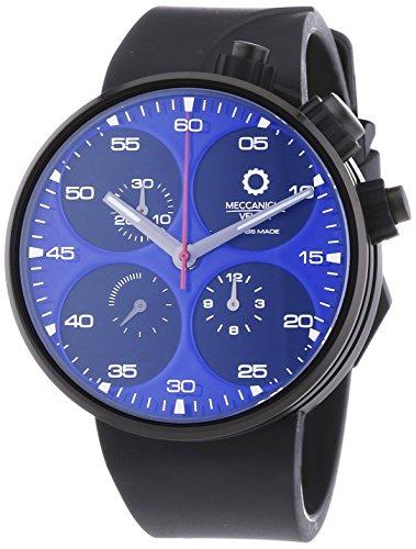 MECCANICHE VELOCI Quattro Valvole Limited Edition Herren Automatik Uhr mit blauem Zifferblatt Chronograph Anzeige und schwarz Gummiband w123 K272496025