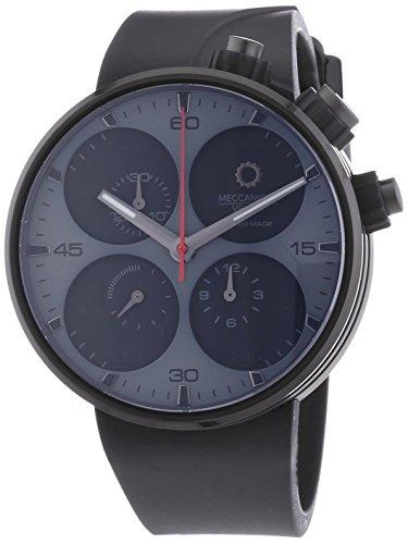 MECCANICHE VELOCI Quattro Valvole Black Edition Herren Automatik Uhr mit schwarzem Zifferblatt Chronograph Anzeige und schwarz Rubber Strap w123 K286496025