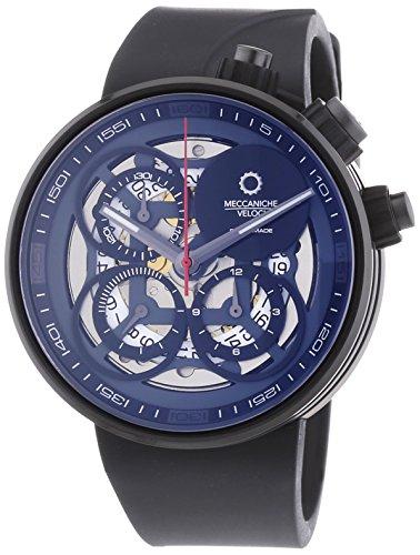 MECCANICHE VELOCI Quattro Valvole Naked Limited Edition Herren Automatik Uhr mit grau Zifferblatt Chronograph Anzeige und schwarz Rubber Strap w123 K347496025