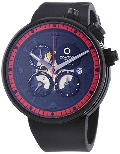 MECCANICHE VELOCI Quattro Valvole Naked Limited Edition Herren Automatik Uhr mit grau Zifferblatt Chronograph Anzeige und schwarz Rubber Strap w123 K349496025