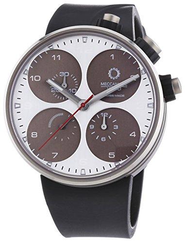MECCANICHE VELOCI Quattro Valvole Herren Automatik Uhr mit grau Zifferblatt Chronograph Anzeige und schwarz Rubber Strap w123 N191496024