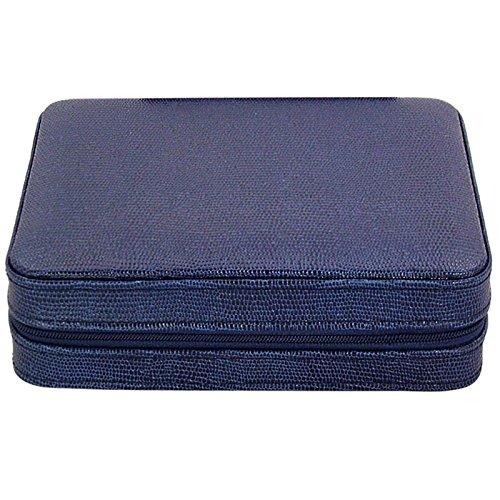 4 Armbanduhr Travel Case Leder blau Eidechse Muster