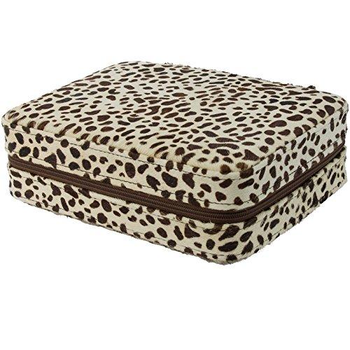 4 Armbanduhr Travel Case Box Rosshaar Snow Leopard Muster