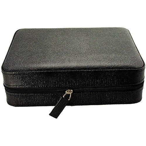 4 Armbanduhr Travel Case Leder schwarz Eidechse Muster